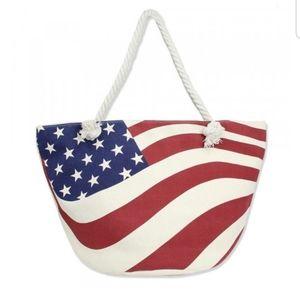 Handbags - Canvas Tote Bag w/an American Flag Pattern